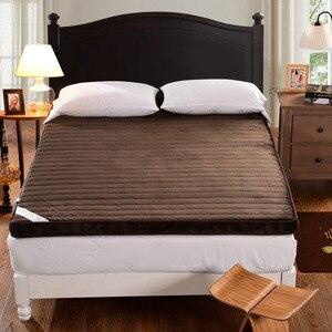 Image 2 - フランネル冬マットレス折りたたみベルベットマットレス睡眠マット畳泡マット学生寮のベッド