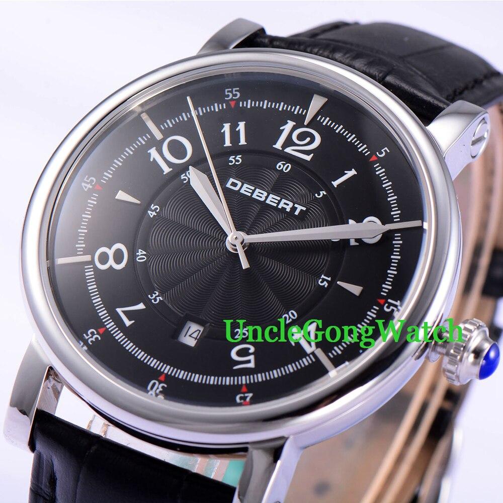 Debert 43.5mm Black Dial See Through Case Back WristWatch Date Mens Miyota Automatic Watches black see through detail fashion sport leggings