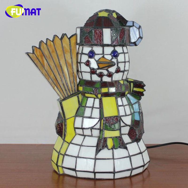 FUMAT Tifffany Lamps Snowman Stained Glass Lights