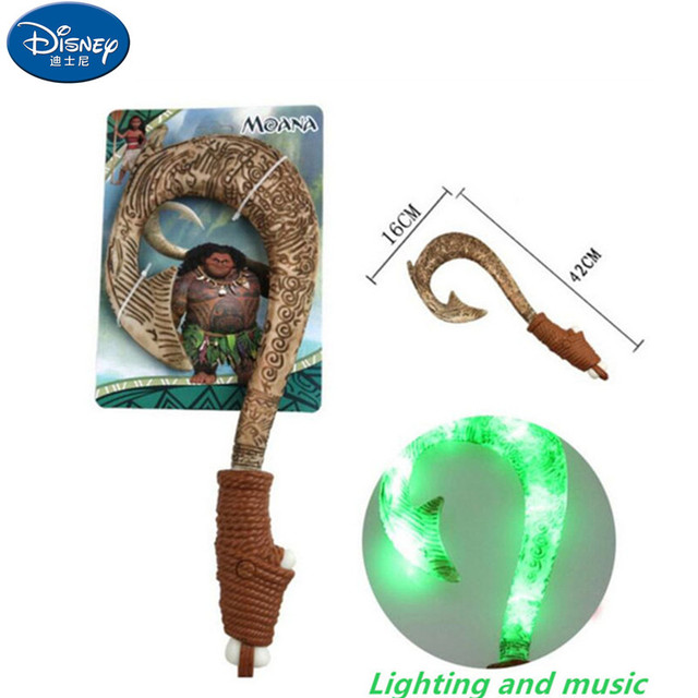 Disney Vaiana Bonec Moana Maui weapon cosplay model fishing hook action figure toy can make light and sound children's gift