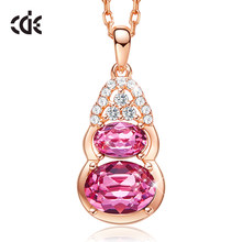 CDE Women Gold Necklace Jewelry 925 Sterling Silver Women Pendant Embellished with crystals from Swarovski Necklace Fine Jewelry(China)