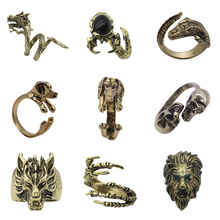 Gothic Punk Animal Ring Pet Dog Dragon Wolf Head Bird Lion Head Skull Eagle Claw Ring Men And Women Knight Jewelry Gift Jewelry chic wolf head shape ring for men