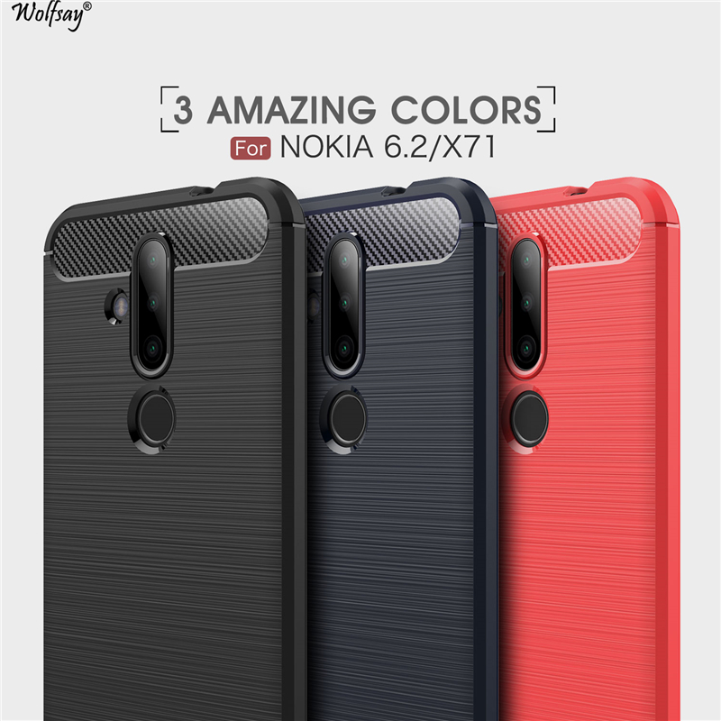 Wolfsay Anti knock Case For Nokia 6 2 Case Soft TPU Brushed Case For Nokia X71 Phone Fundas Coque for Nokia 6 2 nokia6 2 in Fitted Cases from Cellphones Telecommunications