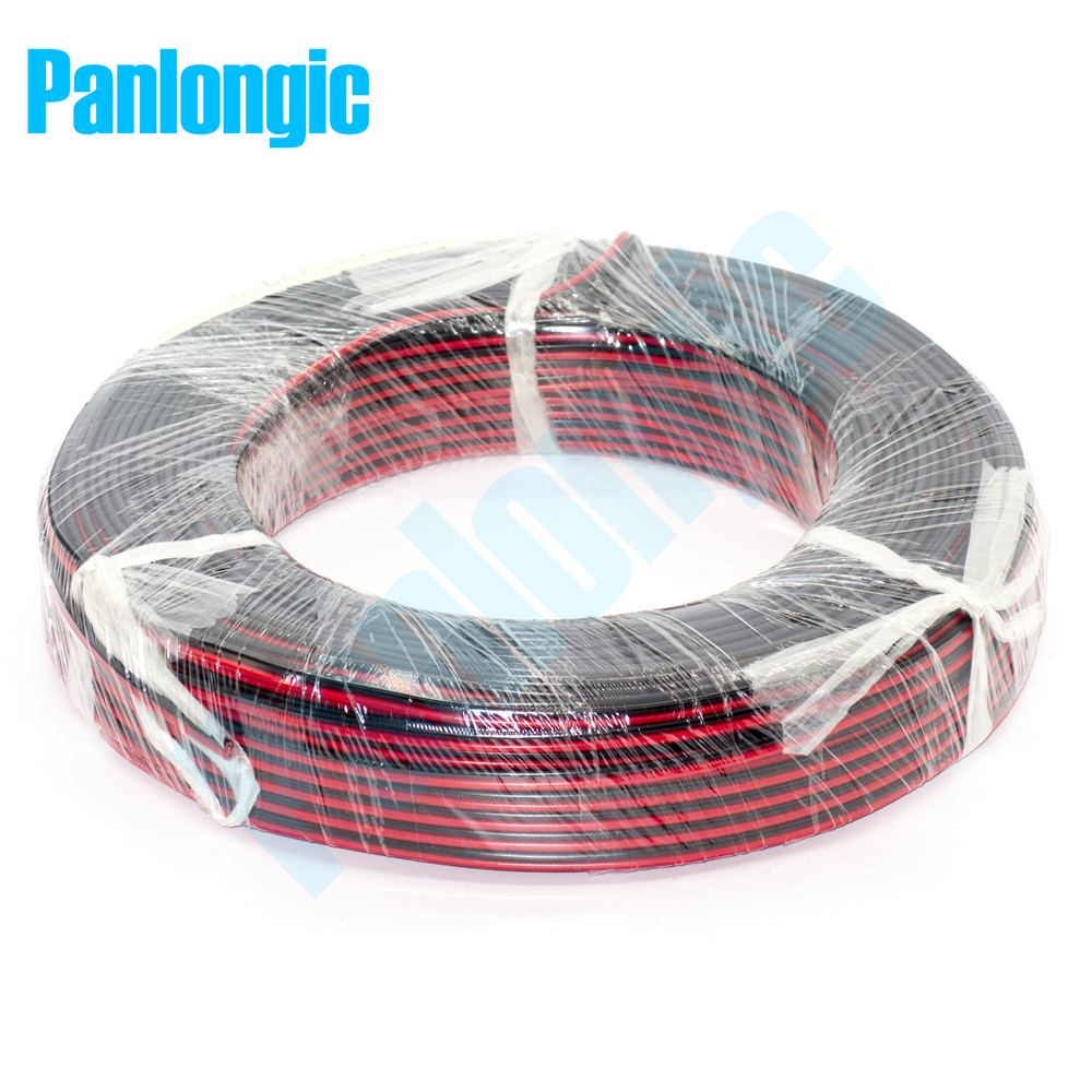 100 Meters <font><b>2</b></font> <font><b>Pin</b></font> Red and Black RVB Electronic Wire <font><b>0.75</b></font> Square <font><b>mm</b></font> PVC Parallel Copper Electronic <font><b>Cable</b></font> for LED Battery image