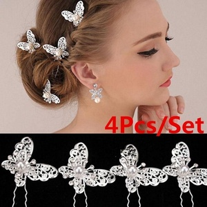 4Pcs New Bride Gold Silver Butterfly Hair Pin Wedding Dress Costume Headdress Wedding Decoration Party Hair Clips(China)
