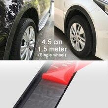 1 pcs 4.5X 1.5meter Width Carbon Fiber or Black Car Fender Flare Wheel Eyebrow Protector Lip Wheel-arch Trim Protector Lip