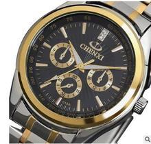 Impermeable de La Marca de Moda de Lujo CHENXI Relojes tira de Acero relogios deporte vestido Reloj De Oro Los Hombres de Negocios Informal Reloj de pulsera de Cuarzo