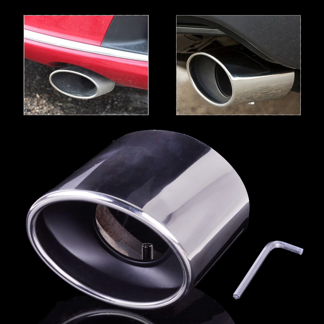 Citall New Chrome Stainless Steel Exhaust Pipe Tail Rear Muffler Tip Pipes For Honda Accord 20: 2012 Accord Exhaust At Woreks.co