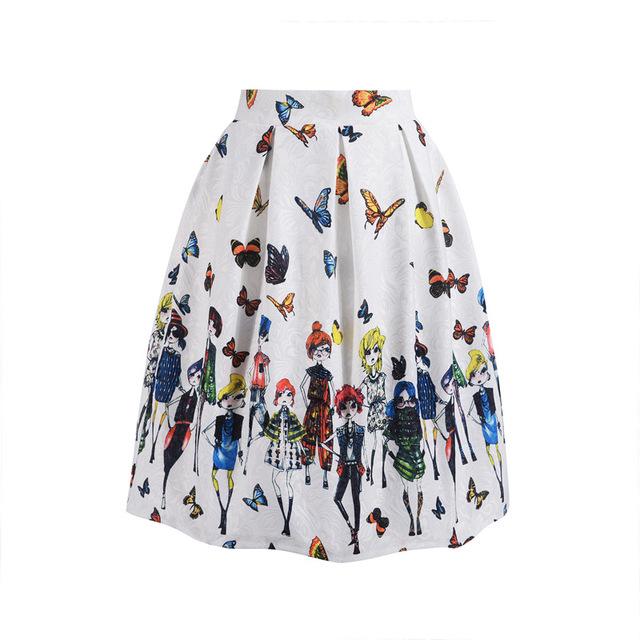 Women Skirt Summer Vintage Print Ball Gown Pleated High Waist Knee Length Midi Skirt