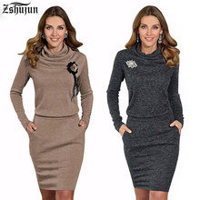 Фотография Free Shipping Sexy Elegant O-neck Two Style Casual Women  Dresses Appliques  Spring Winter Hot Full Sleeve Party Woman Dress