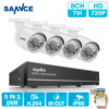 SANNCE 8CH 720P AHD DVR 4PCS 1200TVL IR Night Vision Outdoor CCTV Camera 24 LEDs Home