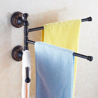 Vidric Towel Racks 3 Rails Swivel 35cm Black Brass Towel Bars Hanger Towel Holder Wall Mounted Bathroom Accessories Towel Shelf