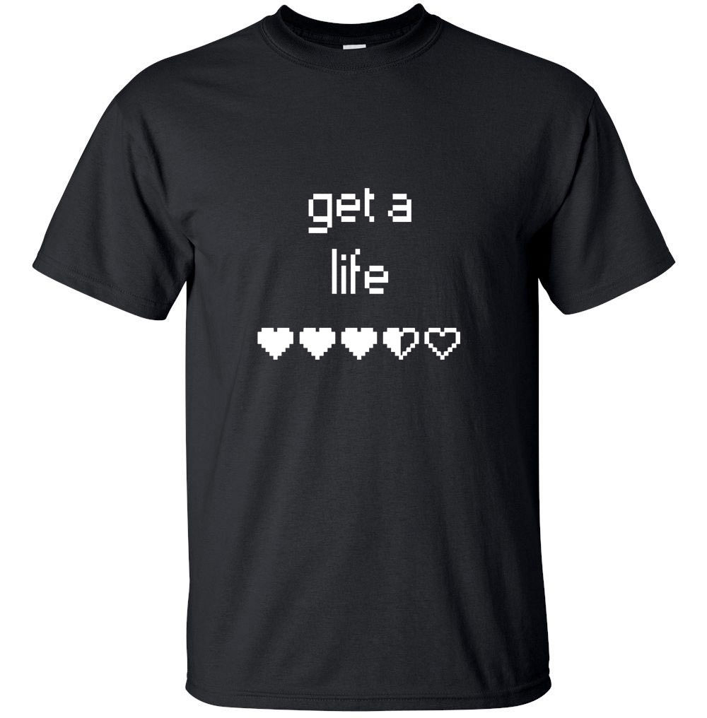 Newest 2017 MenS Fashion - Get a life - Funny Geek Game Adult T-Shirt Black Custom Heart Game