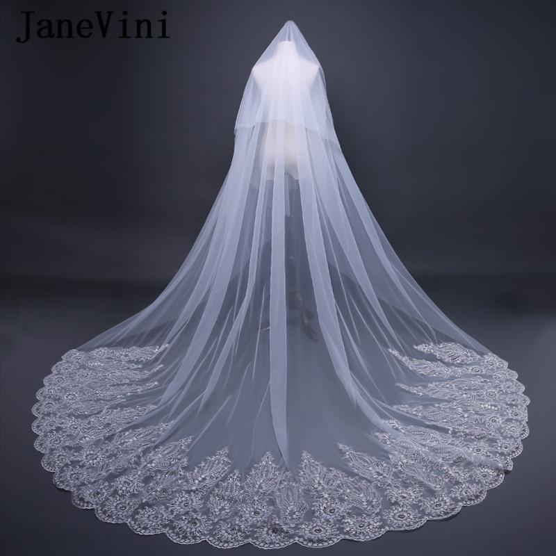 3M Long Luxury Lace Edge Bride vail rhinestone Cathedral Wedding Veil+Comb