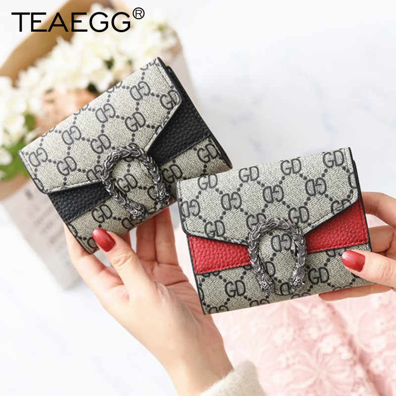 TEAEGG Women Wallets Small Fashion Brand PU Leather Purse Woman Ladies Card Bag Girls Clutch Female Card Holde Money Clip Wallet