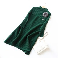 Women Autumn Winter Dress Plain Color Long Sleeve Loose Dress O Neck Office Lady Warm Wool Sweater Dress Pullovers