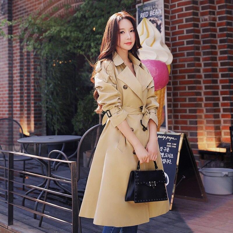 Dabuwawa printemps femmes kaki Chic manteau Trench 2019 nouveau Highstreet vêtements de travail Double boutonnage ceinturé long manteau d'extérieur D18CTC025 - 2