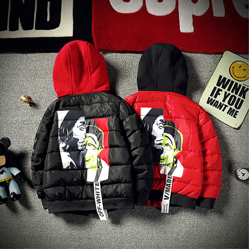 12 Years Big Boys Winter Jackets 2018 Fashion Kids Cotton Printed Coat Teenager Clothes Children Parka Thicken Hooded Outerwear new men s military style casual fashion canvas outdoor camping travel hooded trench coat outerwear mens army parka long jackets
