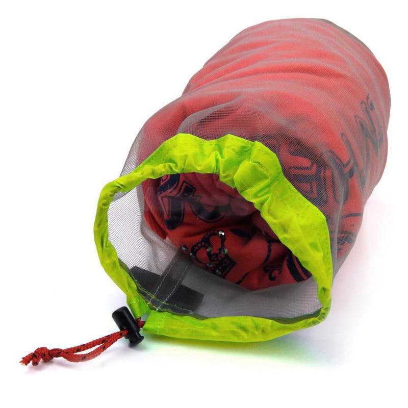 Multi Size Portable Travel Outdoor Camping Sports Ultralight Mesh Stuff Sack Drawstring Storage Bag Stuff Sack Drawstring Bag