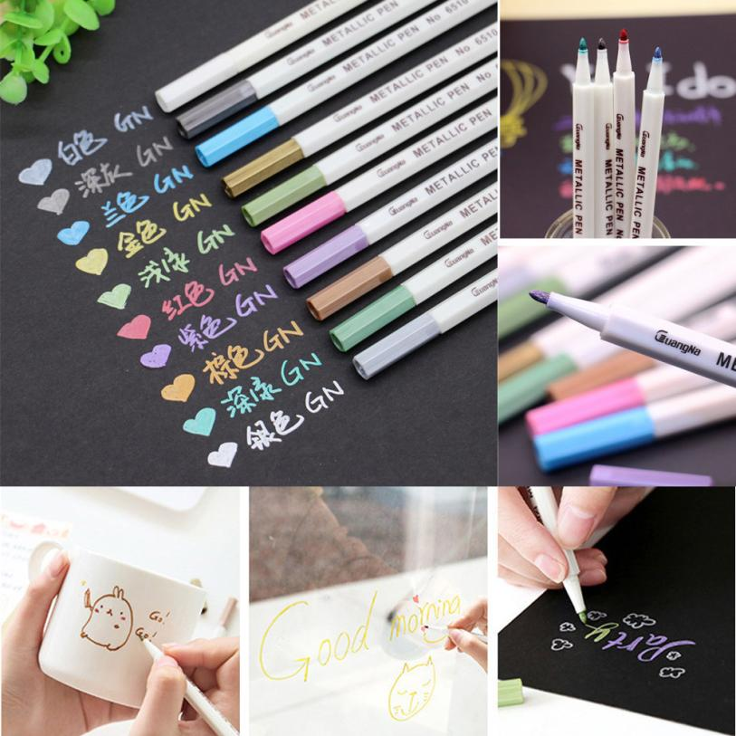 Us 4 68 28 Off 12 X Metallic Markers Paints Pens Point Metallic Marker Pens Black Paper Glass 8 9 In Paint By Number Pens Brushes From Home