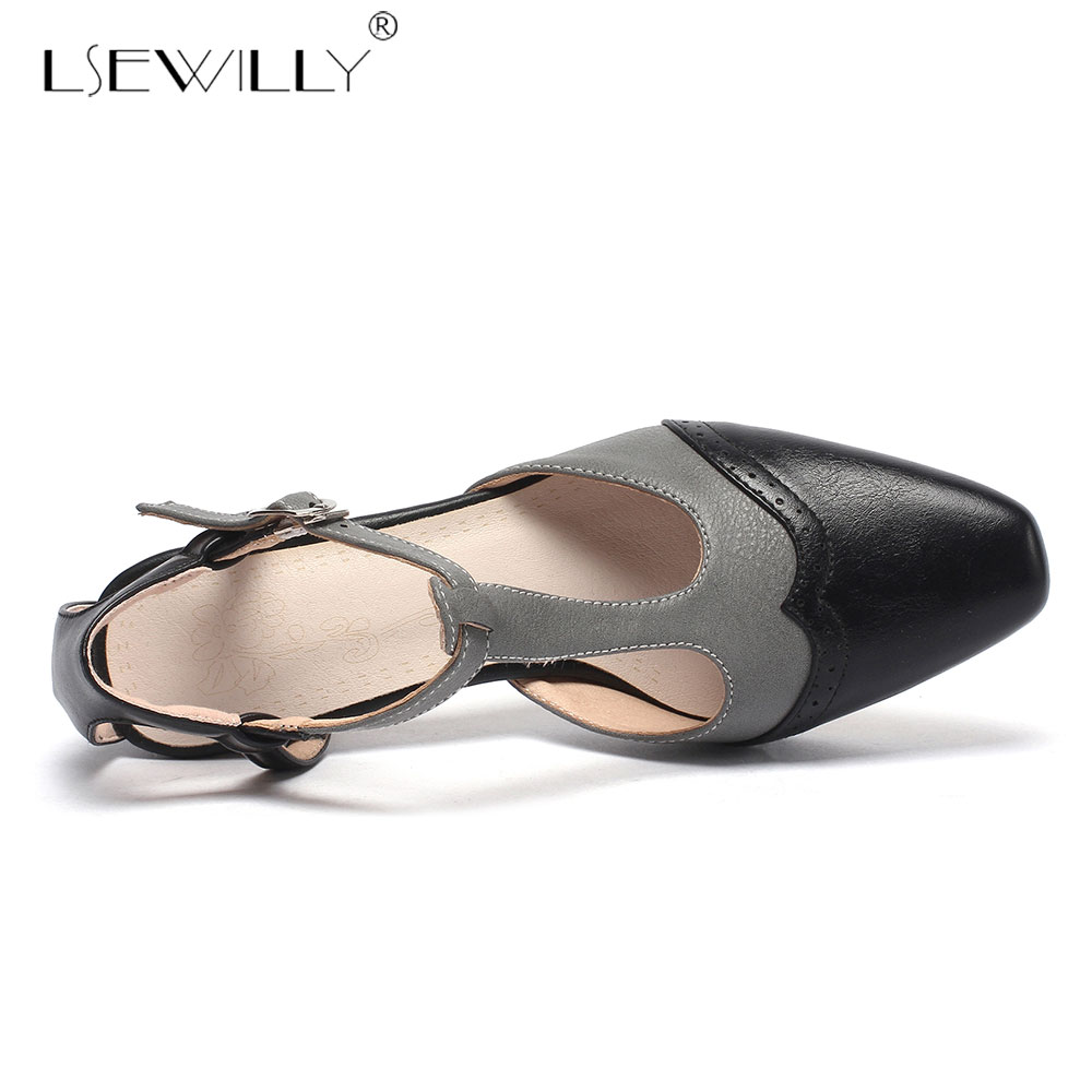 Lsewilly 2019 Summer Block Heel Womens Shoes Beige Gray Slingbacks High Heels Shoes Pointed Toe Sandals Plus Size 33 46 E674 in High Heels from Shoes