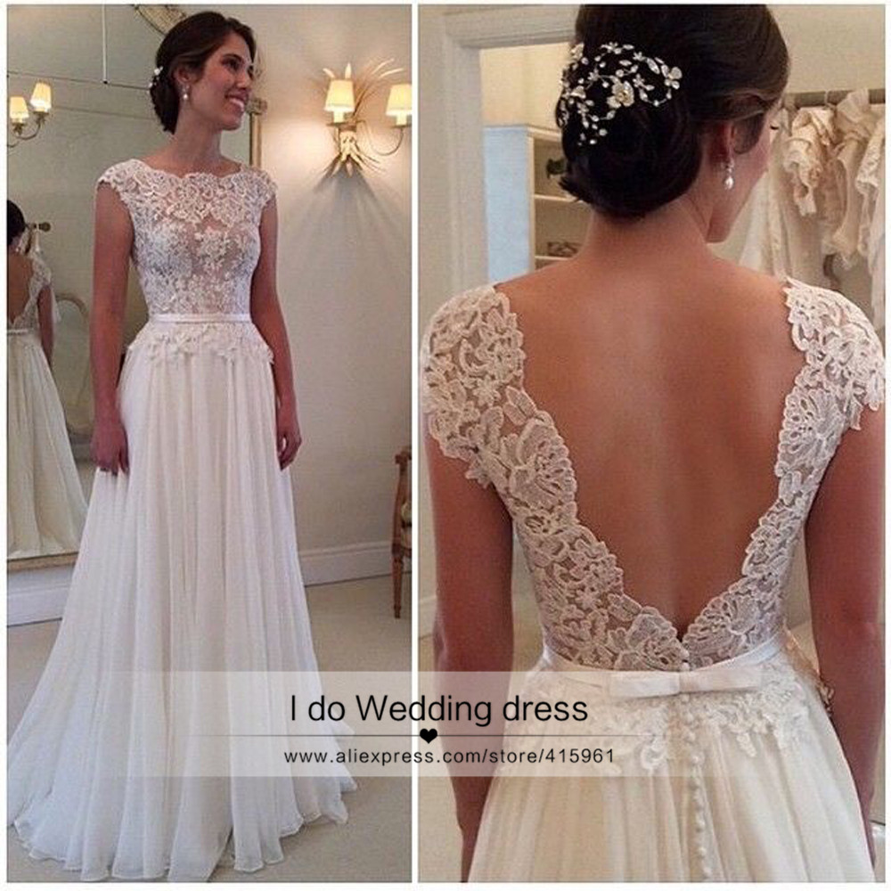 vintage beach wedding dress lace summer cheap backless bride dresses chiffon see through cap sleeve sweep train z355 in wedding dresses from weddings