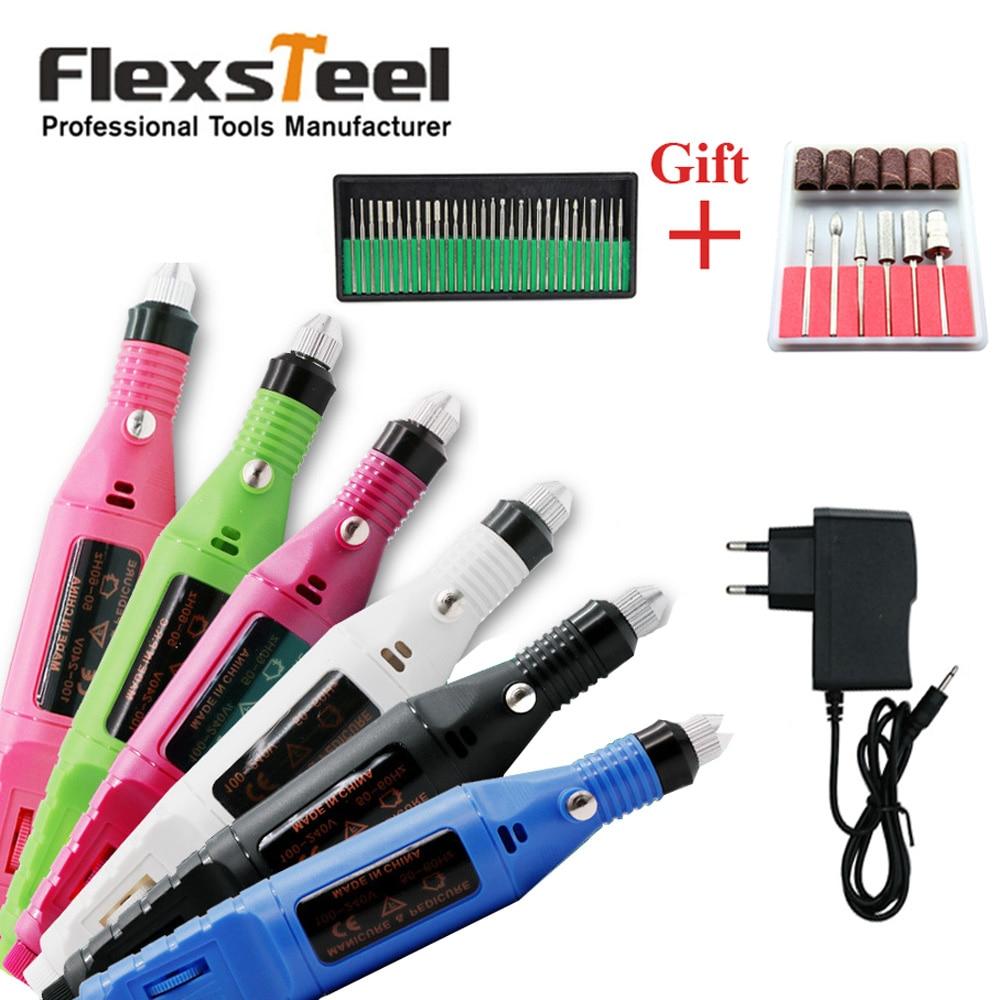 Flexsteel 100 V-240 V Elektrische Carving Stift Mini Polnischen Maniküre Nail art Bohrer Schleifer Maschine Drehwerkzeug mit zubehör