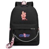 f645ddd2b0d8 Travel USB Charg Backpack Cartoon Mochila KPOP BTS Fans Nylon Women  Backpack Girls Rucksacks Men Student