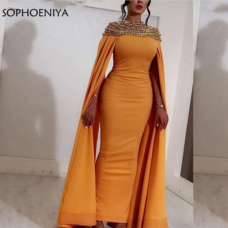 New-Arrival-Long-evening-gown-Yellow-Satin-High-Neck-Crystals-Abendkleider-Dubai-Arabic-Women-Evening-Dresses (1)
