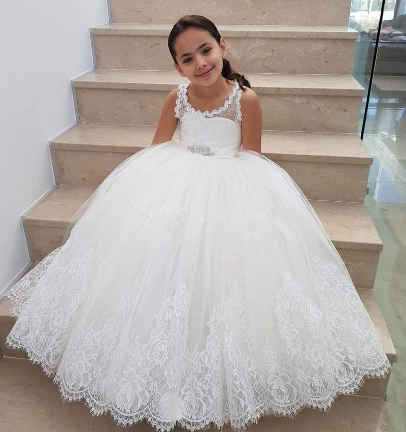 Flower Girl Dresses For Weddings vestidos de Comunion Lace Appliques Tulle Floor Length First Communion Dresses Children
