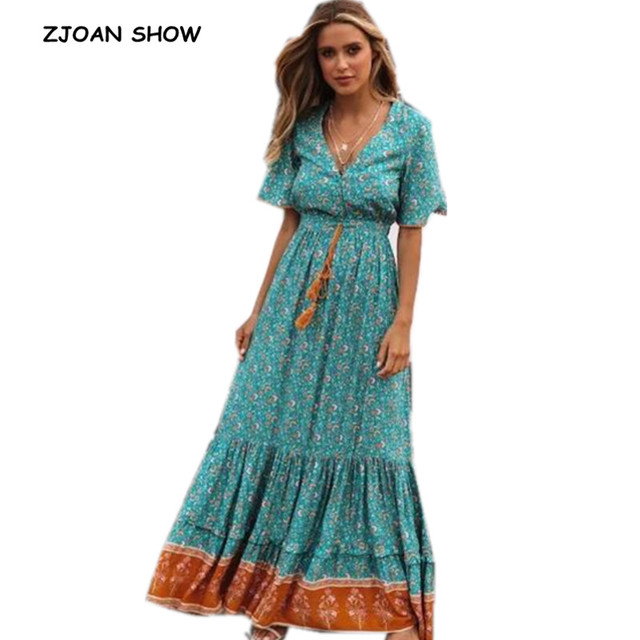 1ee7f666c69c7 US $22.01 9% OFF|2019 Summer New Bohemian Spliced Lace Floral Print Women  Dress Holiday Lacing Up Short Sleeve Ankle Length Beach Dresses Vestido-in  ...