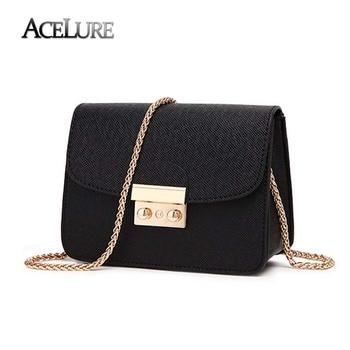 Acelure Summer Bags Women Leather Handbags Chain Small Women Messenger Bag Candy Color Women Shoulder Bag Party Lock Purse