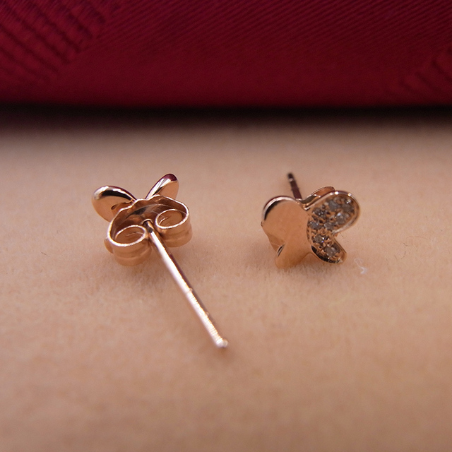 Sinya 18k Gold Diamond Stud earring Rose gold Butterfly fashion design high luster fine jewelry for women ladies girls Hot sale 6