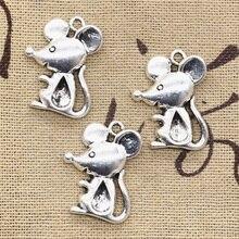 99Cents 6pcs Charms mouse 24*18mm Antique pendant fit Vintage Tibetan Silver DIY bracelet necklace