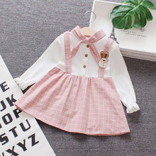 2018 autumn baby girl clothes dresses button lantern sleeve with tie cute christening dress for baby girl long sleeve(China)