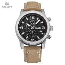 MEGIR Original Luxury Sports Men Quartz Watches Military Wristwatch Men Genuine Leather Band Watch Chronogragph Luminous Clock
