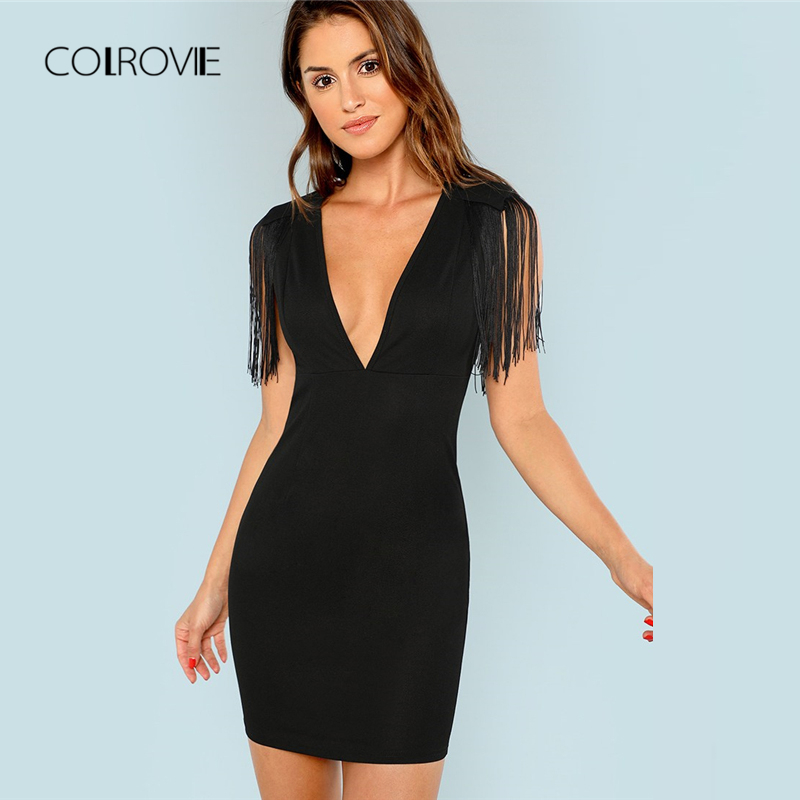 Detail Feedback Questions about COLROVIE Black Solid Deep V Neck Fringe  Embellished Sexy Dress 2018 Autumn Tassel Party Dress Vintage Bodycon  Summer Dresses ... 11d50c345