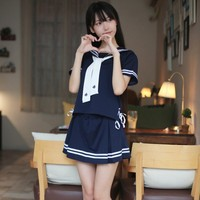 New 2018 Sexy Japanese JK Sets School Uniform Girls Sakura Summer Autumn High School Women Novelty Sailor Suit Wetlook Uniforms