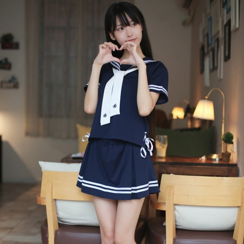 New <font><b>2018</b></font> <font><b>Sexy</b></font> Japanese JK <font><b>Sets</b></font> School Uniform Girls Sakura Summer Autumn High School Women Novelty Sailor Suit Wetlook Uniforms image
