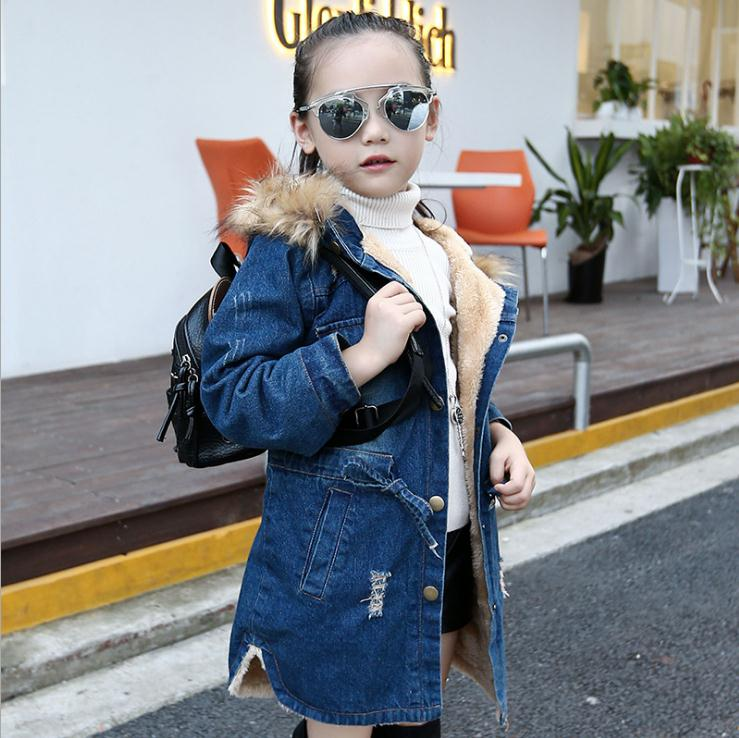 Джинсовая куртка для девочек; сезон осень-зима; Новая детская длинная одежда для девочек; плотная теплая верхняя одежда; пальто; Джинсовая хлопковая куртка с капюшоном - Цвет: Denim Blue