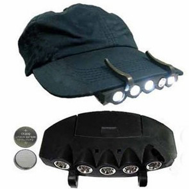 e1e6f3e7d1a05 New 3 Modes 1 Clip-On 5 LED Head Lights Lamp Cap Hat Camping Torch Clip Hand