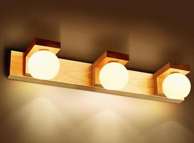Lente LED faro lámparas de pared lámpara cuarto baño madera a1 impermeable  niebla Escandinavia ZL46
