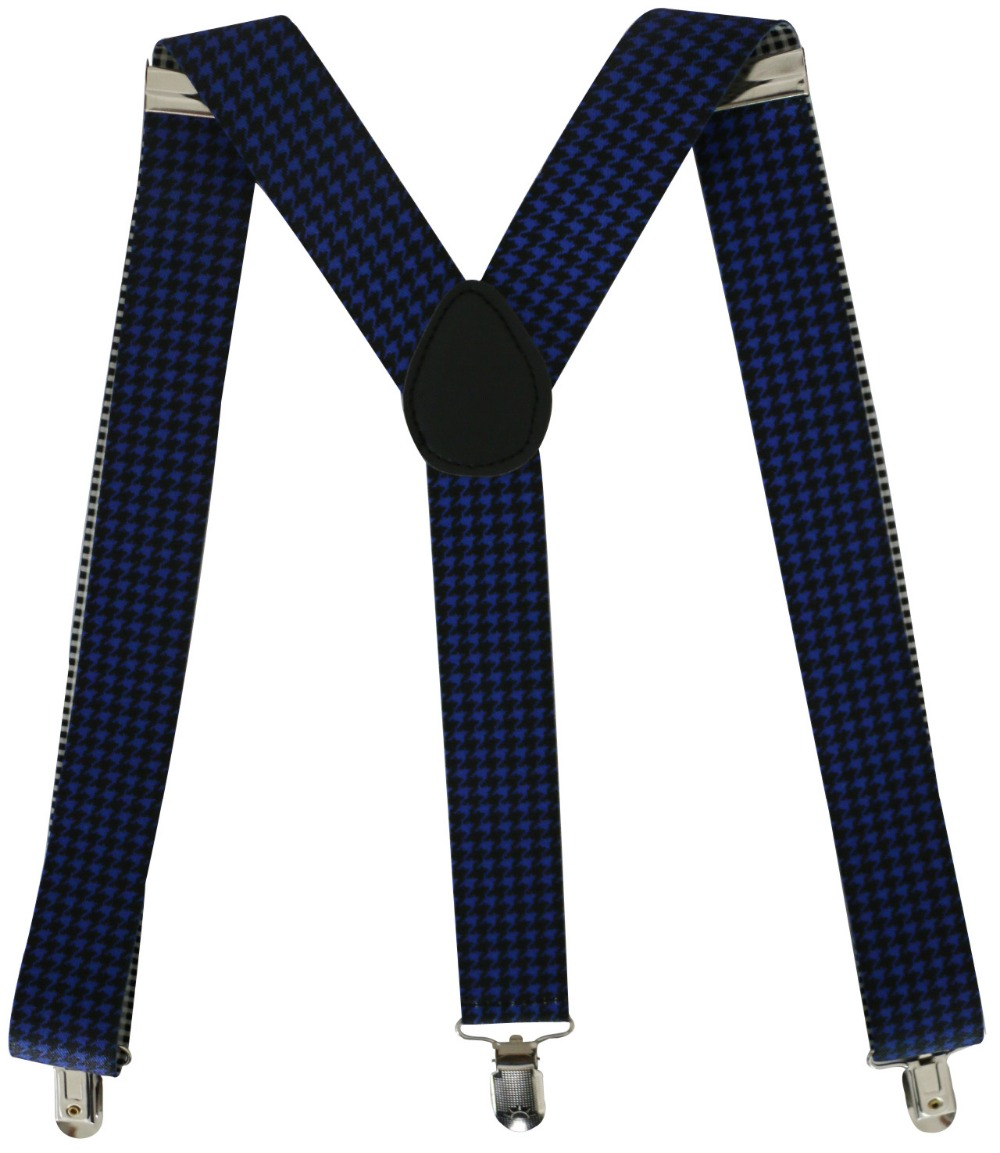 Free Shipping 2018 New Mens 3.5cm Wide Royal Blue Clip-on Suspender Elastic Braces