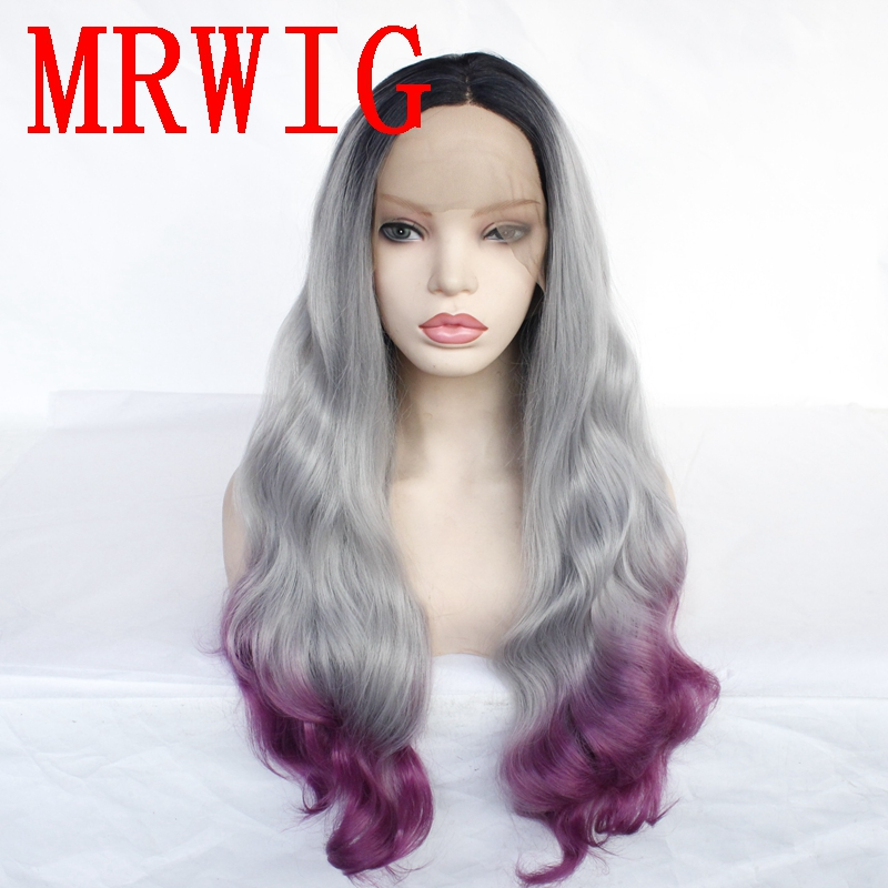 MRWIG Long Curly 26in Real Hair 1b#/Grey/Purple Mid Part Heat Resistant Fiber Synthetic Lace Front Wig Combs&Straps