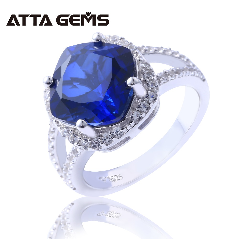 Blue Sapphire S925 Silver Rings for Women Wedding Engagement Birthday Ring 6 Carats Created Sapphire Faced Cushion Gemstone RingBlue Sapphire S925 Silver Rings for Women Wedding Engagement Birthday Ring 6 Carats Created Sapphire Faced Cushion Gemstone Ring