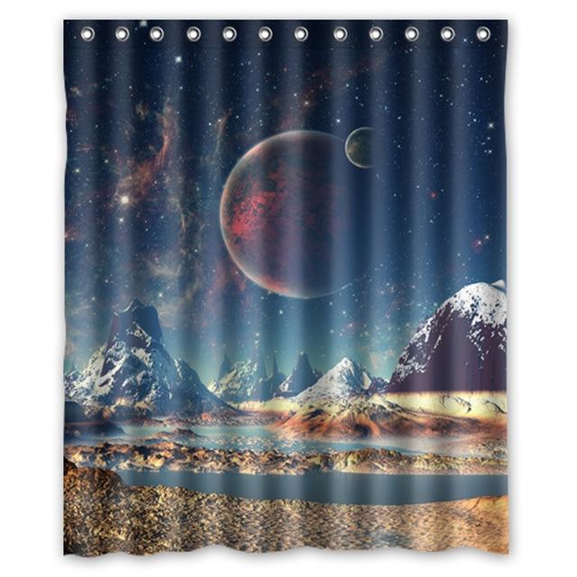 Planet Universe Galaxy Custom Create Bath Waterproof Shower Curtain Bathroom Products Curtains 48x72 60x72