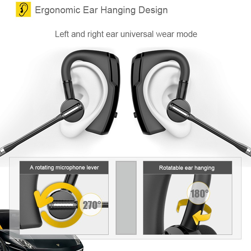 Bluetooth Headset Wireless Earphone Headphones Stereo Sound Ergonomic Ear Hanging Design Business Earphone Noise Cancelling K6