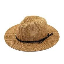 XCZJ Summer Beach Hat Women Panama Straw Caps Wide Brim Visors Casual Hats Lady Brand Hand Made Sun Flat Gorras H092