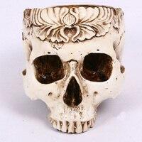 Decoração de Halloween Horrible Crânio Humano Resina Decoração Escultura Estátua Crânio Simulação Flor Pote Artesanato Cinzeiro Decoração