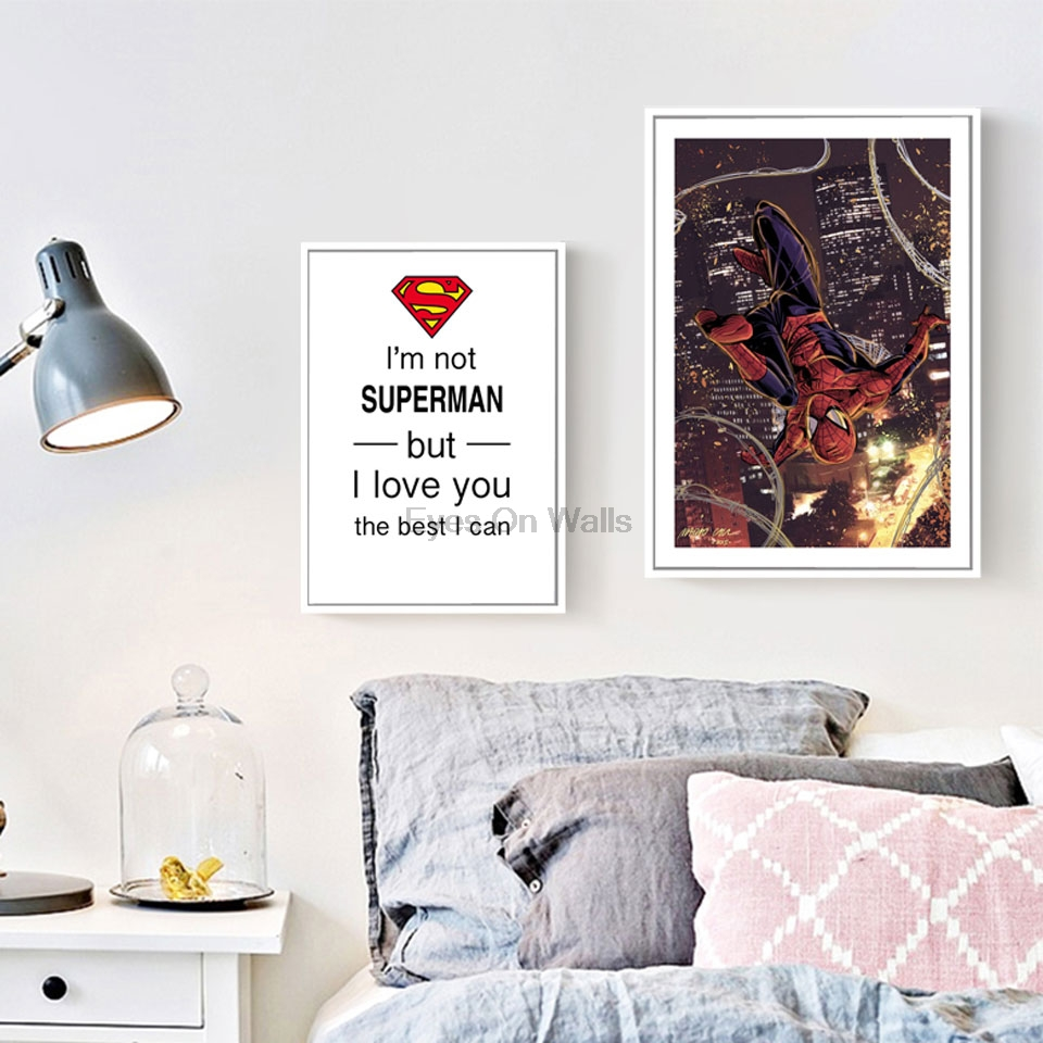Modern Superhero Movie Canvas Art Print Poster Spiderman Wall Picture For  Kids Room Home Decor Quote Painting Nordic Wall Art